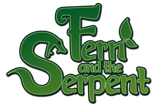 The logo I made for my video game, Fern and the Serpent.
